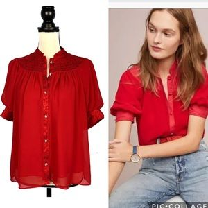 Moulinette Soeurs Red Puff Sleeves Colline Blouse